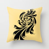 Happy Splash - 1-Bit Oddity - Black Version Throw Pillow