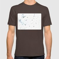 Moonbot #00: White Mens Fitted Tee Brown SMALL