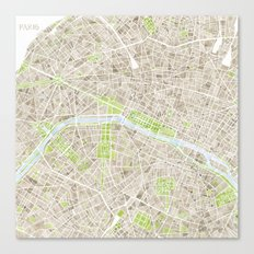 Paris SGB Watercolor Map Canvas Print