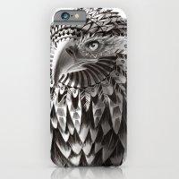 black and white ornate rendered tribal eagle iPhone 6 Slim Case