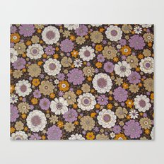 Retro floral sheet purples Canvas Print