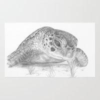 A Green Sea Turtle :: Grayscale Rug