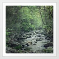 Misty Forest Stream Art Print