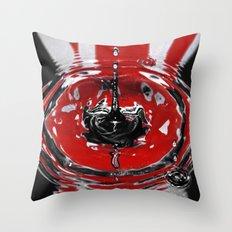 Black & Red Water Art. Throw Pillow