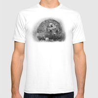 Hedgehog Mens Fitted Tee White SMALL