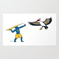 Warriors vs Pelicans Art Print