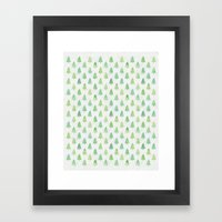 Simple Pine Tree Forest Pattern Framed Art Print