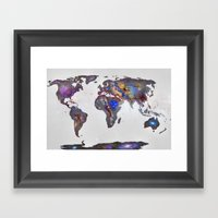 Stars World Map Framed Art Print