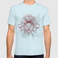 Grunge Retro Mens Fitted Tee Light Blue SMALL