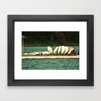 Boats On The Dock Framed Art Print