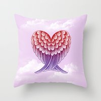 Heart Wings [Pink Versio… Throw Pillow