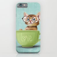 Kitten with glasses iPhone 6 Slim Case