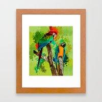 Paint Splashed Macaws Framed Art Print