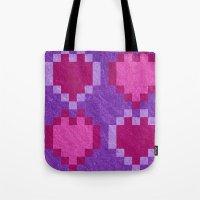 Pink Purple PIxel Hearts Tote Bag