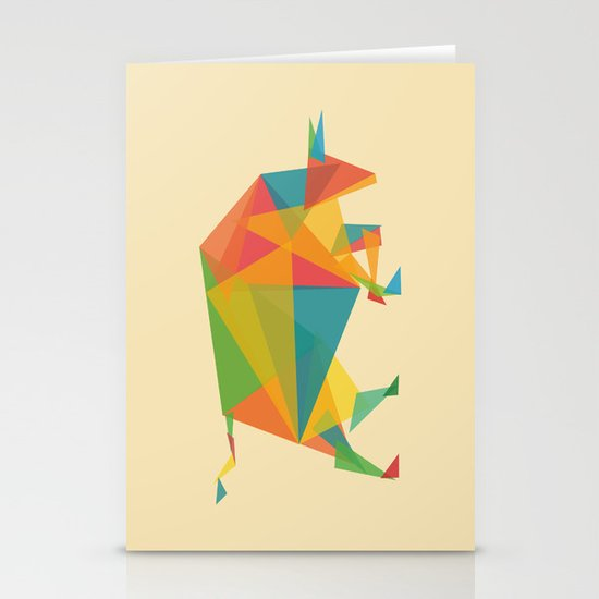 Fractal Geometric Bull Stationery Card
