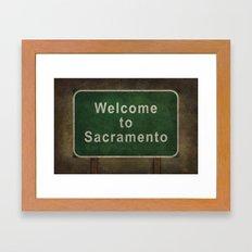 Welcome to Sacramento road sign illustration Framed Art Print