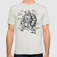 Robocop Robot Bear by RonkyTonk Mens Fitted Tee Silver SMALL