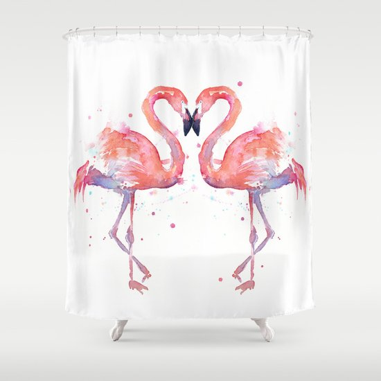 Pink Flamingo Shower Curtain By Olechka