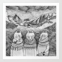 Icelandic Foxes Art Print