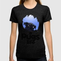 a Pug's life (dark) Womens Fitted Tee Tri-Black SMALL