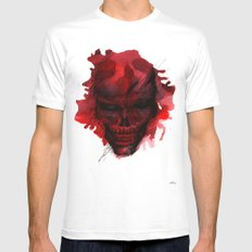 Red Skull SMALL White Mens Fitted Tee