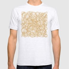 Gold Thread on Black | Abstract Brain Map 3 Mens Fitted Tee Ash Grey SMALL