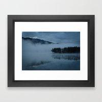 Foggy lake morning Framed Art Print