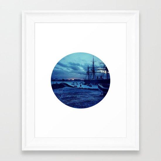 Telescope 3 harbour twilight Framed Art Print