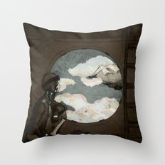 Aviator Girl (Steampunk) Throw Pillow