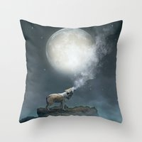 Throw Pillow featuring The Light of Starry Dreams (Wolf Moon) by soaring anchor designs