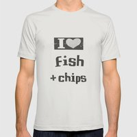 I ♥ Fish And Chips - D… Mens Fitted Tee Silver SMALL