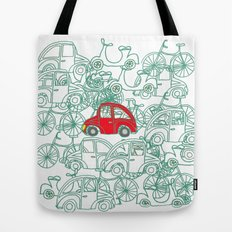 Little Red Car Tote Bag