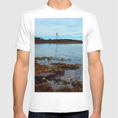 Point Prim Lighthouse Reflected SMALL Mens Fitted Tee White