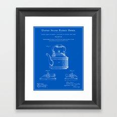 Tea Kettle Patent - Blueprint Framed Art Print