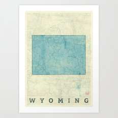 Wyoming State Map Blue V… Art Print