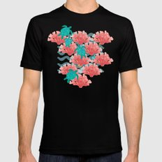 Sea Turtles in The Coral - Ocean Beach Marine Black Mens Fitted Tee SMALL