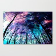 Black Trees Colorful Spa… Canvas Print