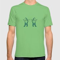 Dancing Sharks Mens Fitted Tee Grass SMALL