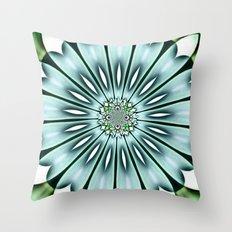 Painted Aqua Flower Throw Pillow