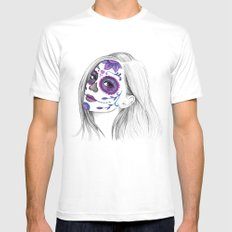 Sugar Skull Girl White SMALL Mens Fitted Tee