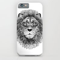 iPhone & iPod Case featuring Black+White Lion by Rachel Caldwell