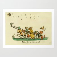 Let's Go To The Moon Art Print