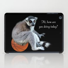 Cute ring tail monkey and basketball, soccer ball. Animal photo art. iPad Case