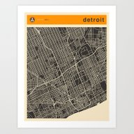 Art Print featuring Detroit Map by Jazzberry Blue