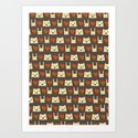 Yeti hearts bunny pattern Art Print