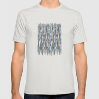 Autumn Lines Mens Fitted Tee Silver SMALL