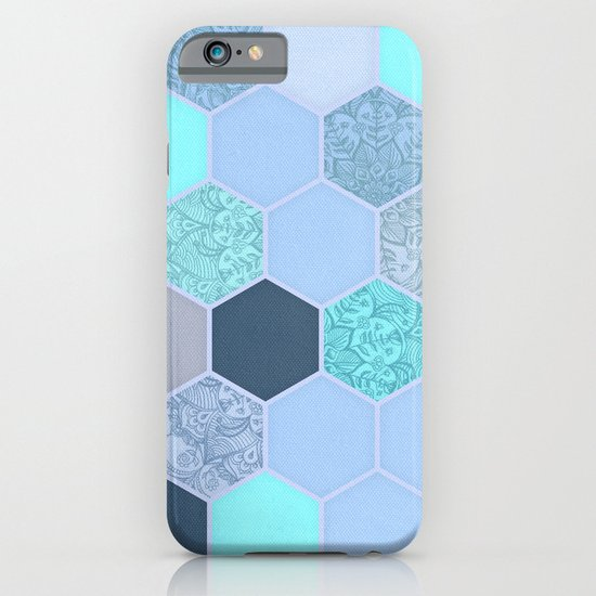 Denim Blue, Aqua & Indigo Hexagon Doodle Pattern iPhone & iPod Case