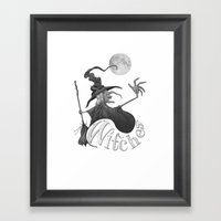 Black And White Witch Framed Art Print