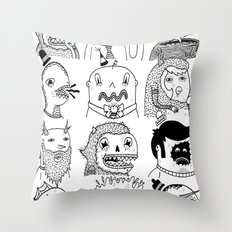 Monster Meet Up Throw Pillow