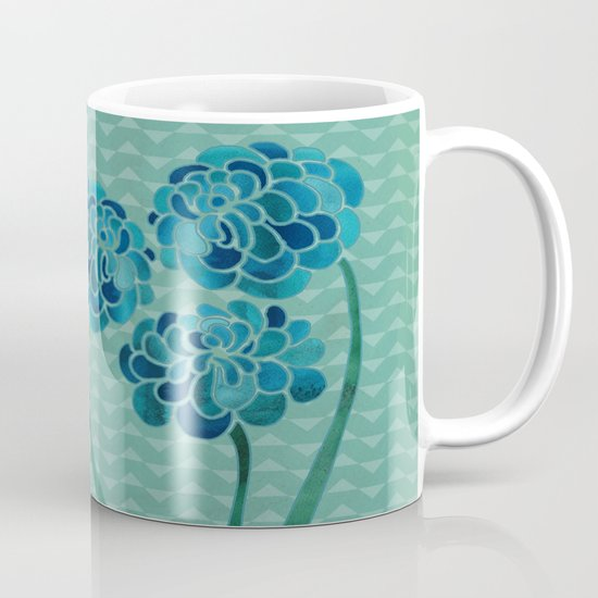 Blue Chrysanthemums Mug